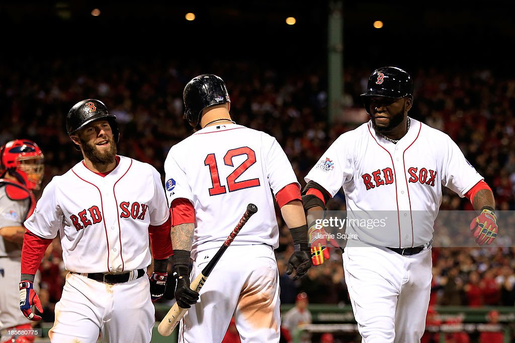 David Ortiz of the Boston Red Sox celebrates with Mike Napoli after hitting a home run in the seventh inning against the St Louis Cardinals during...