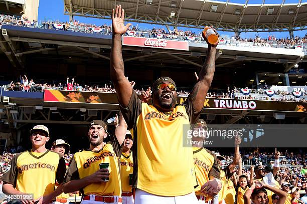 David Ortiz of the Boston Red Sox cheers during the TMobile Home Run Derby at PETCO Park on July 11 2016 in San Diego California
