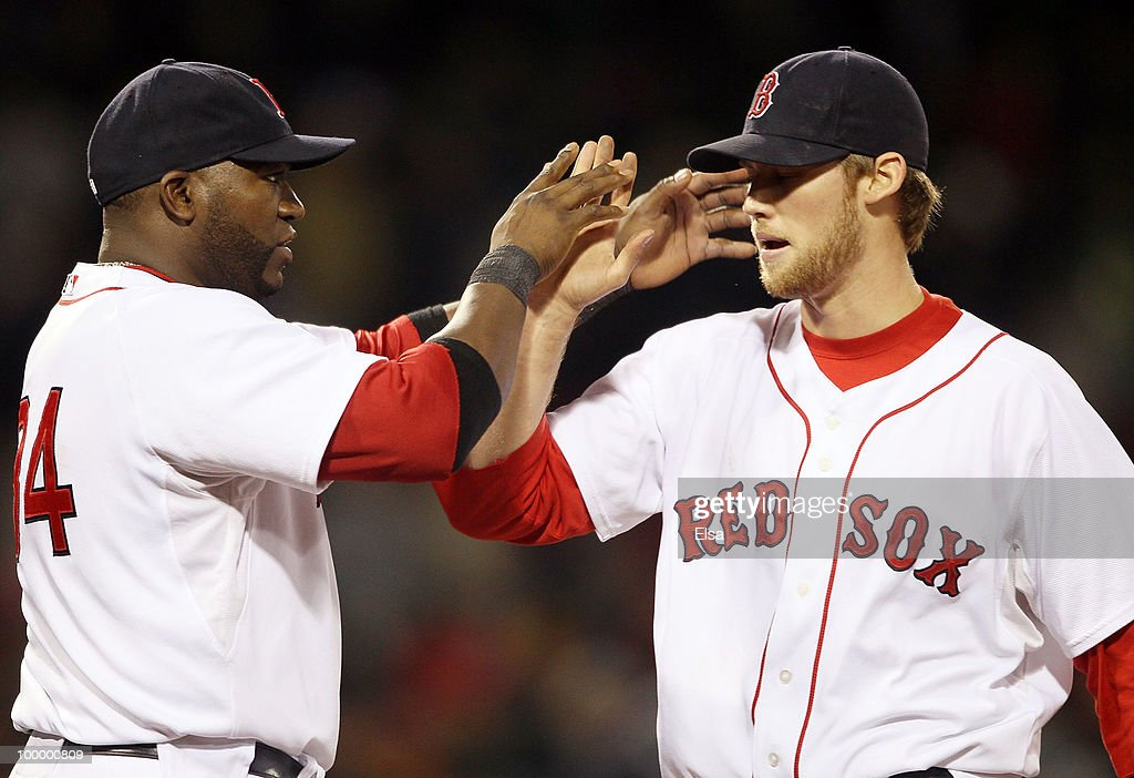 David Ortiz #34 of the Boston Red Sox congratulates closing pitcher Daniel Bard #51 after the win over the Minnesota Twins on May 19, 2010 at Fenway Park in Boston, Massachusetts. The Red Sox defeated the Twins 3-2.