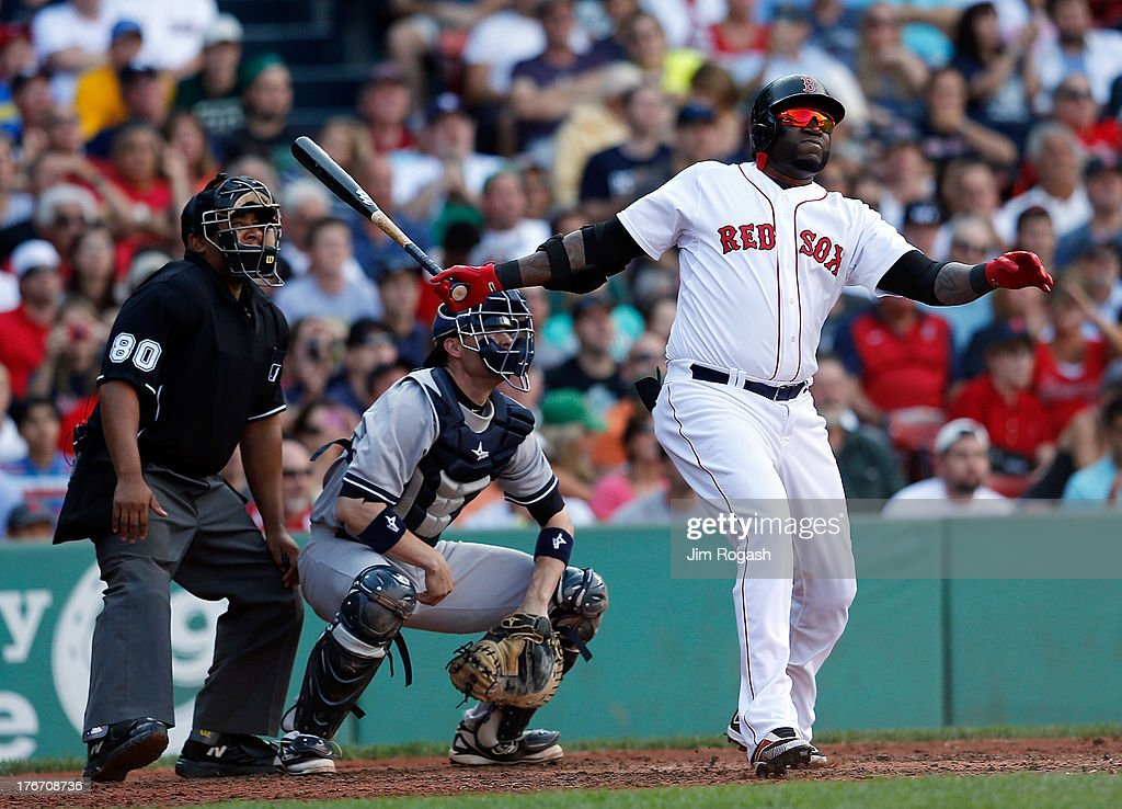 David Ortiz #34 of the Boston Red Sox doubles against the New York Yankees in the 4th inning at Fenway Park on August 17, 2013 in Boston, Massachusetts.