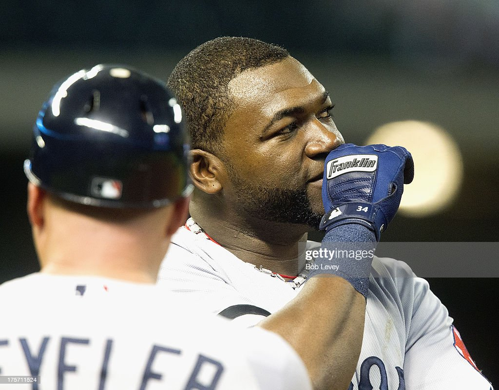 <a gi-track='captionPersonalityLinkClicked' href=/galleries/search?phrase=David+Ortiz&family=editorial&specificpeople=175825 ng-click='$event.stopPropagation()'>David Ortiz</a> #34 of the Boston Red Sox during a Houston Astros pitching change at Minute Maid Park on August 6, 2013 in Houston, Texas.