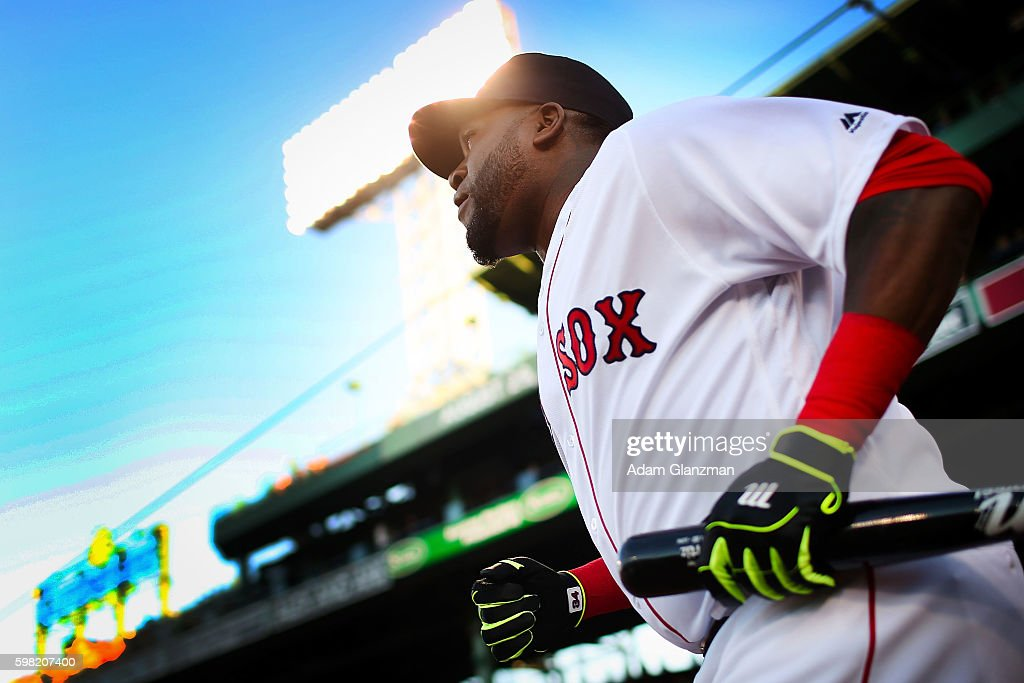 David Ortiz of the Boston red Sox enters the field before the game against the Tampa Bay Rays at Fenway Park on August 29 2016 in Boston Massachusetts