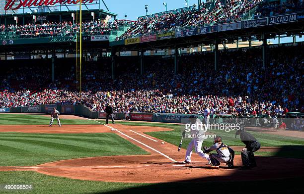 David Ortiz of the Boston Red Sox flies out against Ubaldo Jimenez of the Baltimore Orioles at Fenway Park during the first inning on September 27...