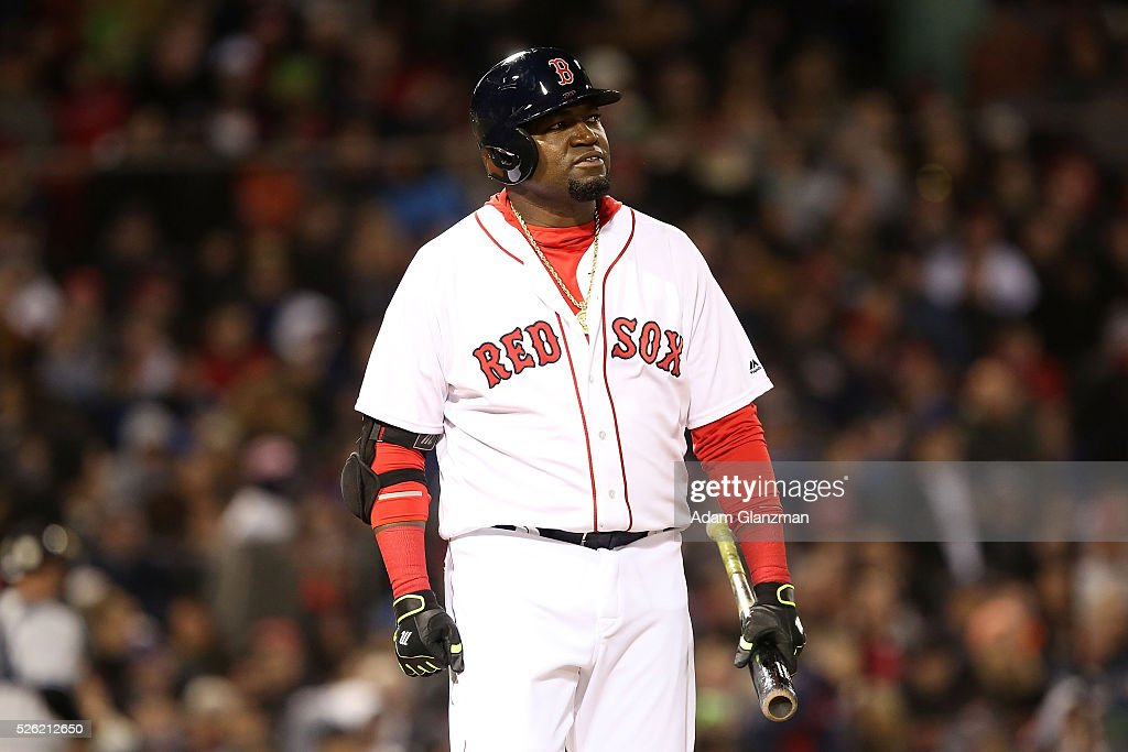 <a gi-track='captionPersonalityLinkClicked' href=/galleries/search?phrase=David+Ortiz&family=editorial&specificpeople=175825 ng-click='$event.stopPropagation()'>David Ortiz</a> #34 of the Boston Red Sox frowns after getting out in the sixth inning during the game against the New York Yankees at Fenway Park on April 29, 2016 in Boston, Massachusetts.