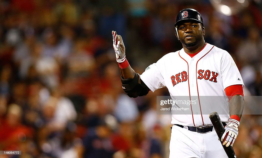 <a gi-track='captionPersonalityLinkClicked' href=/galleries/search?phrase=David+Ortiz&family=editorial&specificpeople=175825 ng-click='$event.stopPropagation()'>David Ortiz</a> #34 of the Boston Red Sox gestures after striking out in the 9th inning against the New York Yankees during the game on July 8, 2012 at Fenway Park in Boston, Massachusetts.