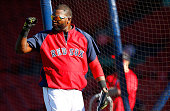 David Ortiz of the Boston Red Sox gestures to the outfield during batting practice prior to the game against the Tampa Bay Rays at Fenway Park on May...