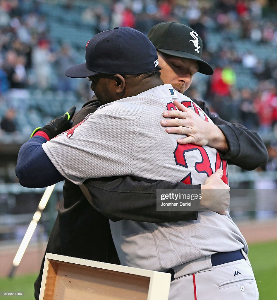<a gi-track='captionPersonalityLinkClicked' href=/galleries/search?phrase=David+Ortiz&family=editorial&specificpeople=175825 ng-click='$event.stopPropagation()'>David Ortiz</a> #34 of the Boston Red Sox gets a hug from <a gi-track='captionPersonalityLinkClicked' href=/galleries/search?phrase=Chris+Sale&family=editorial&specificpeople=7132181 ng-click='$event.stopPropagation()'>Chris Sale</a> #49 of the Chicago White Sox during a retirement ceremony before the Red Sox take on the Chicago White Sox at U.S. Cellular Field on May 5, 2016 in Chicago, Illinois.