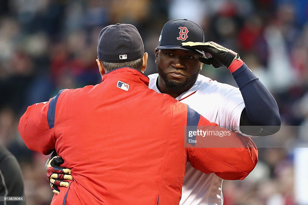 David Ortiz #34 of the Boston Red Sox greets manager John Farrell prior to game three of the American League Divison Series against the Cleveland Indians at Fenway Park on October 10, 2016 in Boston, Massachusetts.