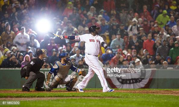 David Ortiz of the Boston Red Sox hits a foul ball during the second inning against the Toronto Blue Jays at Fenway Park on October 1 2016 in Boston...