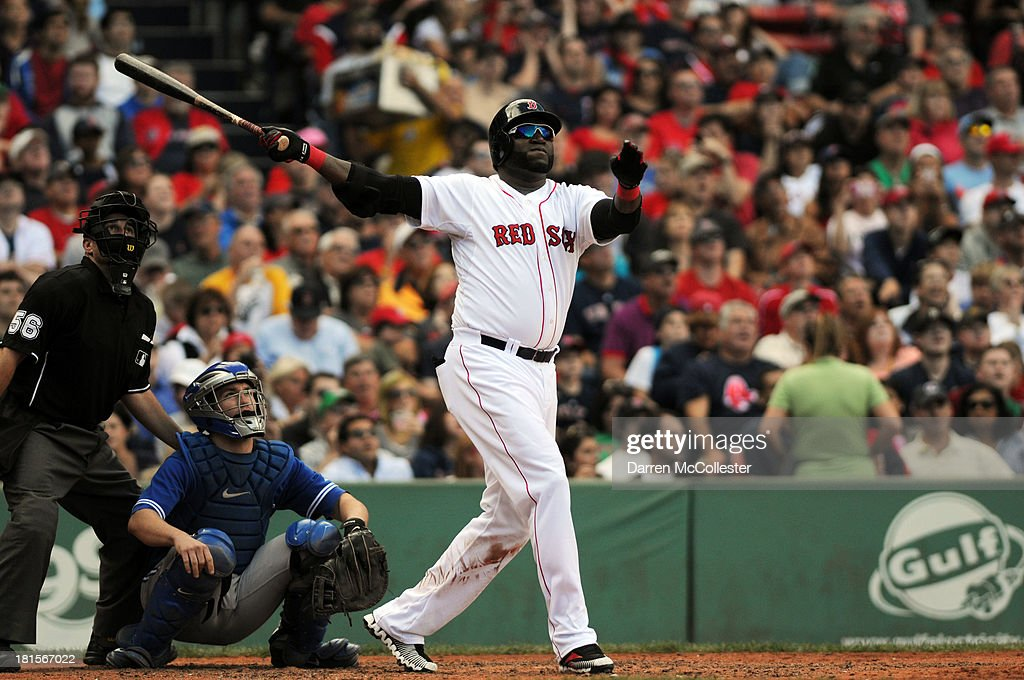<a gi-track='captionPersonalityLinkClicked' href=/galleries/search?phrase=David+Ortiz&family=editorial&specificpeople=175825 ng-click='$event.stopPropagation()'>David Ortiz</a> #34 of the Boston Red Sox hits a solo homerun in the sixth inning against the Toronto Blue Jays at Fenway Park on September 22, 2013 in Boston, Massachusetts.