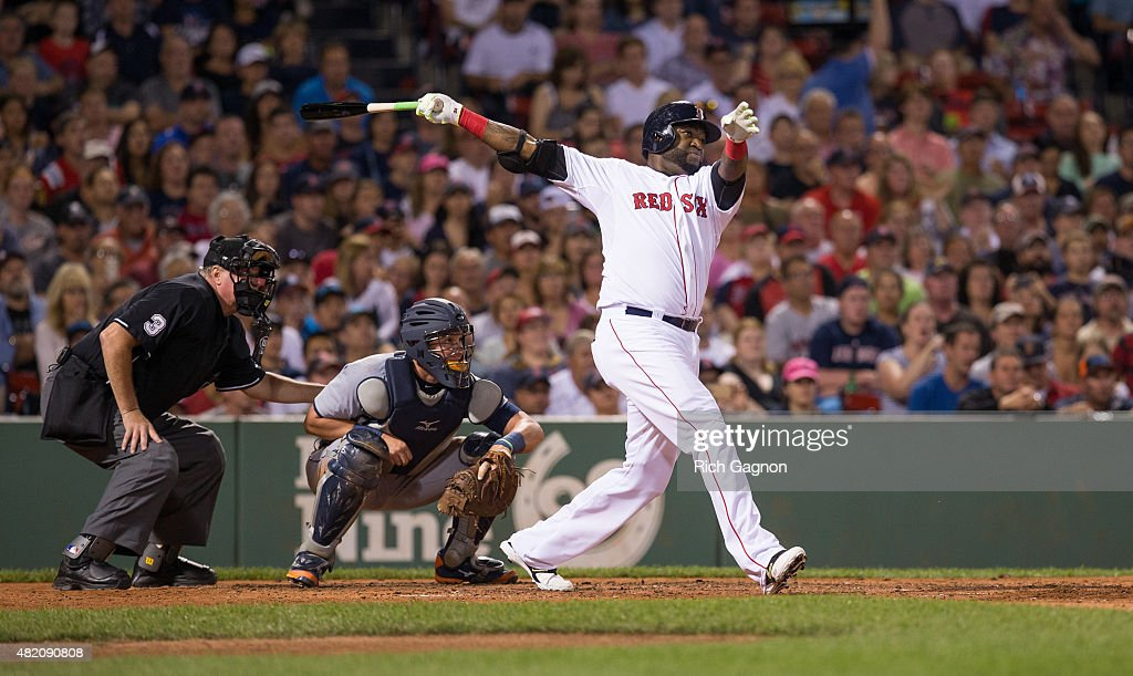 David Ortiz #34 of the Boston Red Sox hits a three-run home run during the fifth inning against the Detroit Tigers at Fenway Park on July 26, 2015 in Boston, Massachusetts.
