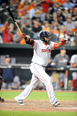 David Ortiz of the Boston Red Sox hits a two run game winning home run in the tenth inning during a baseball game against the Baltimore Orioles on...