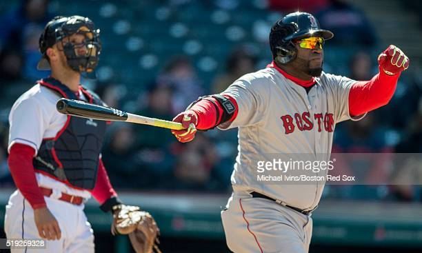 David Ortiz of the Boston Red Sox hits a tworun home run against the Cleveland Indians in the ninth inning on April 5 2016 at Progressive Field in...