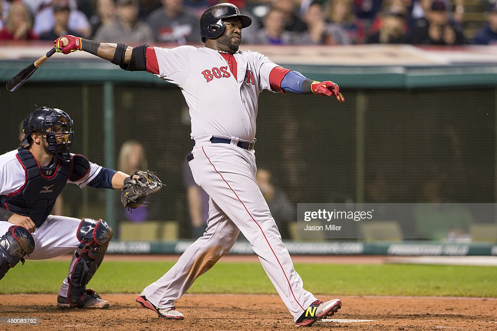 <a gi-track='captionPersonalityLinkClicked' href=/galleries/search?phrase=David+Ortiz&family=editorial&specificpeople=175825 ng-click='$event.stopPropagation()'>David Ortiz</a> #34 of the Boston Red Sox hits a two-run home run during the sixth inning against the Cleveland Indians at Progressive Field on June 4, 2014 in Cleveland, Ohio.