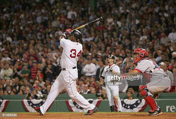David Ortiz of the Boston Red Sox hits the game winning homerun to defeat the Anaheim Angels 86 in the 10th inning of Game 3 of the American League...
