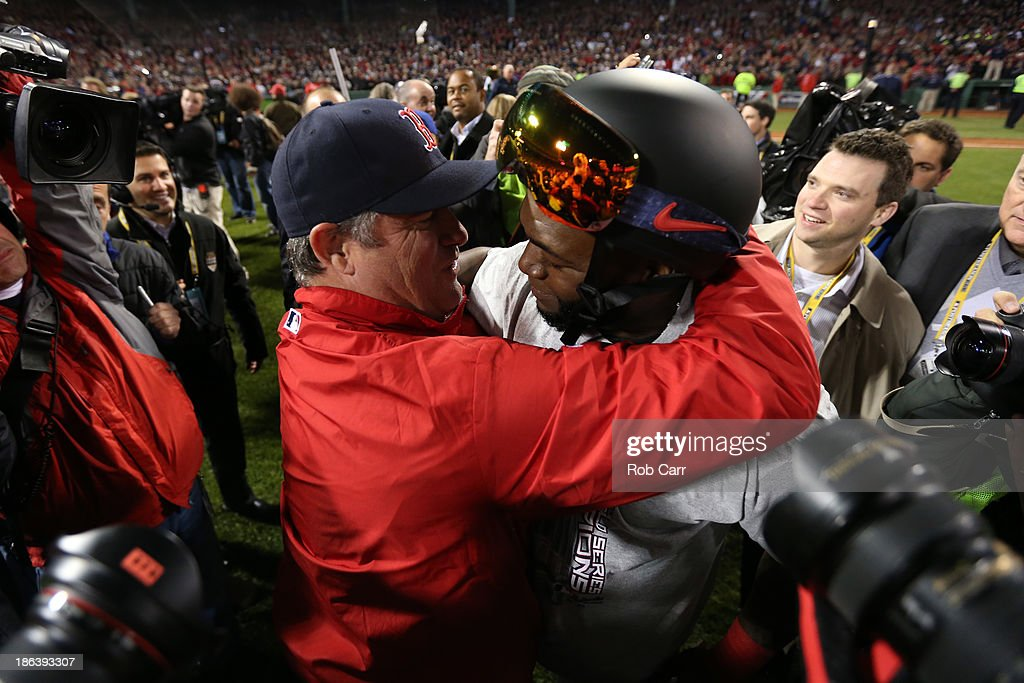 <a gi-track='captionPersonalityLinkClicked' href=/galleries/search?phrase=David+Ortiz&family=editorial&specificpeople=175825 ng-click='$event.stopPropagation()'>David Ortiz</a> #34 of the Boston Red Sox hugs manager John Farrell #53 after defeating the St. Louis Cardinals 6-1 in Game Six of the 2013 World Series at Fenway Park on October 30, 2013 in Boston, Massachusetts.