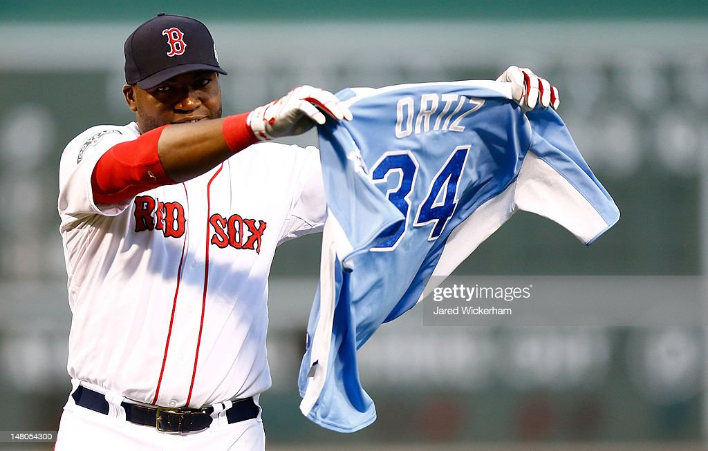<a gi-track='captionPersonalityLinkClicked' href=/galleries/search?phrase=David+Ortiz&family=editorial&specificpeople=175825 ng-click='$event.stopPropagation()'>David Ortiz</a> #34 of the Boston Red Sox is presented with his All-Star Game jersey prior to the game against the New York Yankees on July 8, 2012 at Fenway Park in Boston, Massachusetts.