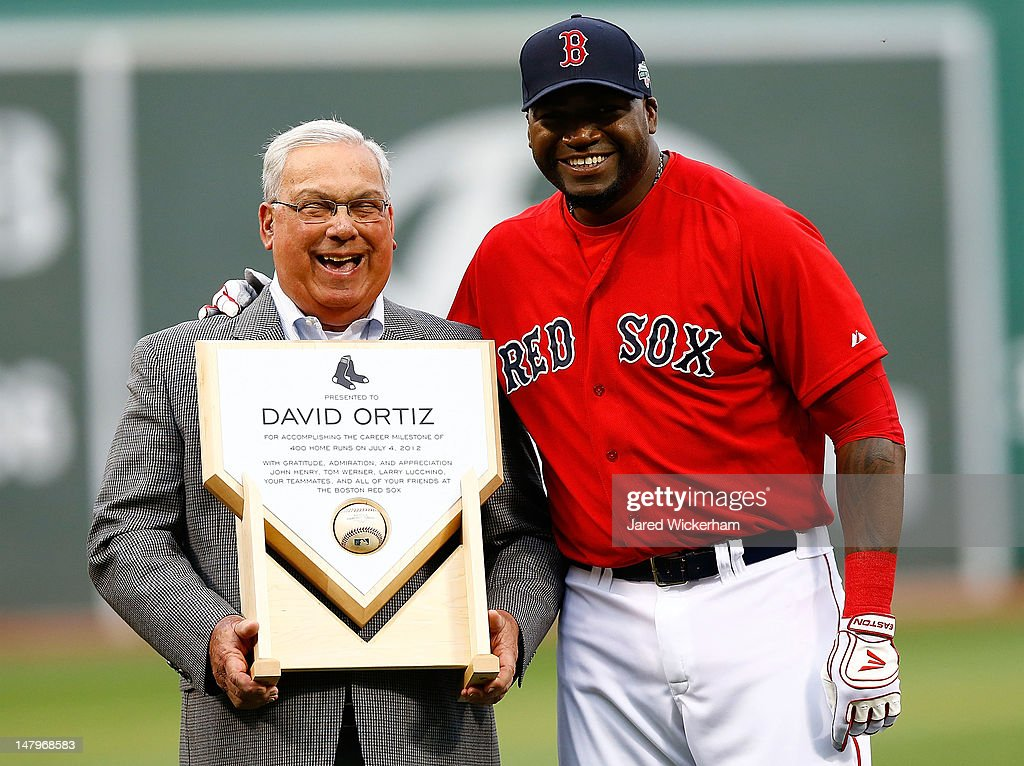 David Ortiz #34 of the Boston Red Sox is recoginized for his 400th career home run with the City of Boston Mayor Tom Menino prior to the game against the New York Yankees on July 6, 2012 at Fenway Park in Boston, Massachusetts.