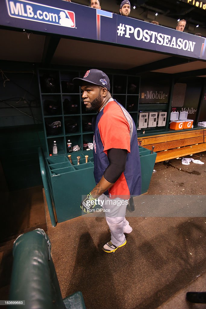 David Ortiz #34 of the Boston Red Sox is seen in the dugout during batting practice before Game 4 of the American League Division Series against the Tampa Bay Rays on Monday, October 8, 2013 at Tropicana Field in St. Petersburg, FL.