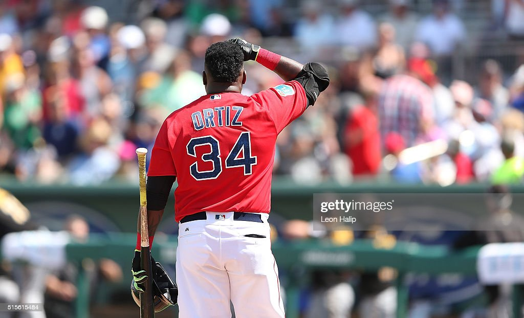 David Ortiz #34 of the Boston Red Sox looks into the crowd after he hit a foul ball into the crowd during the fifth inning of the Spring Training Game against the Pittsburgh Pirates on March 14, 2016 at Jet Blue Park at Fenway South, Florida. The Pirates defeated the Red Sox 3-1.