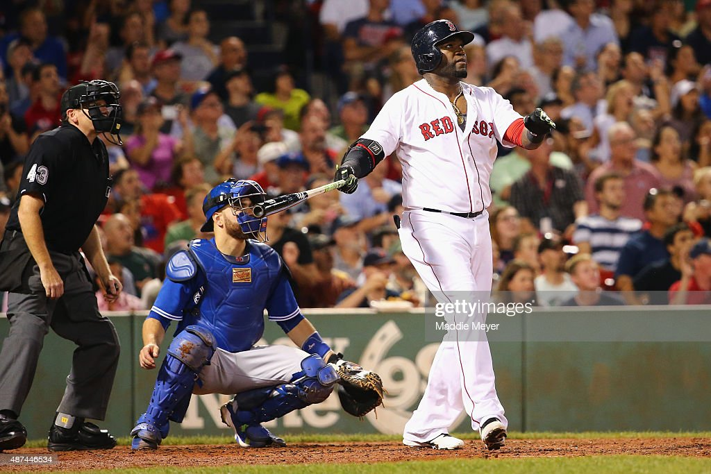 <a gi-track='captionPersonalityLinkClicked' href=/galleries/search?phrase=David+Ortiz&family=editorial&specificpeople=175825 ng-click='$event.stopPropagation()'>David Ortiz</a> #34 of the Boston Red Sox looks on after hitting his 498th career home run during the third inning against the Toronto Blue Jays at Fenway Park on September 9, 2015 in Boston, Massachusetts.