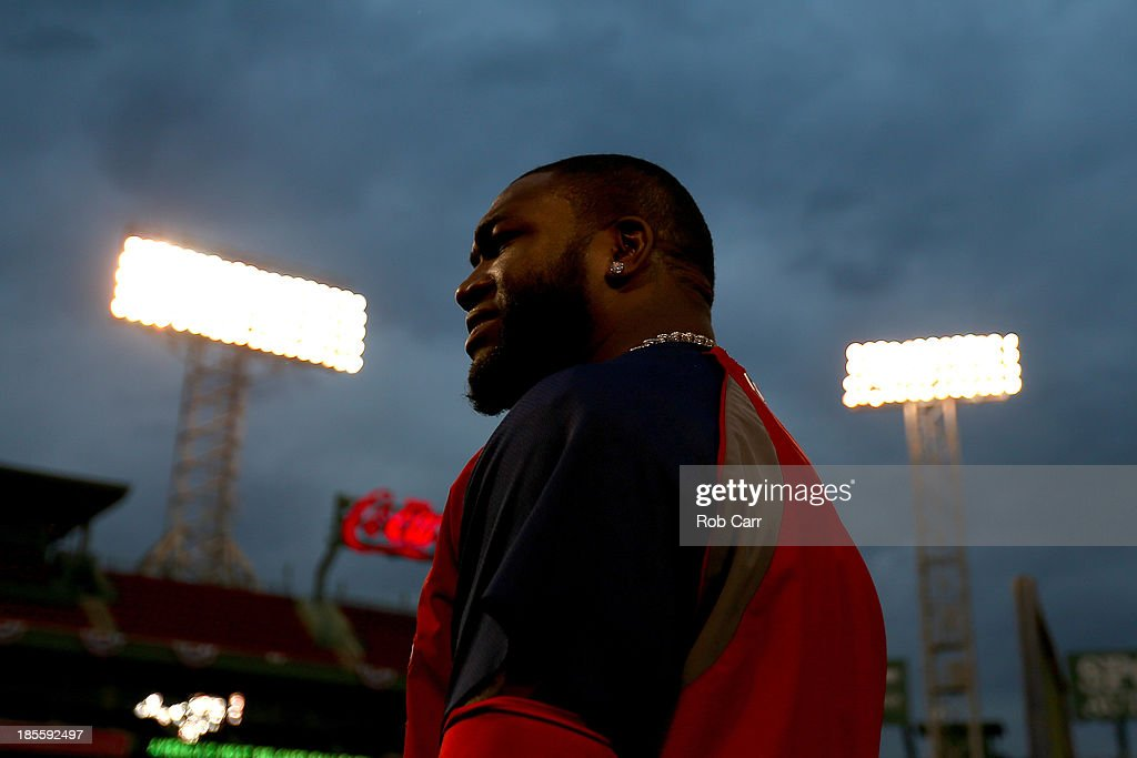 <a gi-track='captionPersonalityLinkClicked' href=/galleries/search?phrase=David+Ortiz&family=editorial&specificpeople=175825 ng-click='$event.stopPropagation()'>David Ortiz</a> #34 of the Boston Red Sox looks on during team workout in the 2013 World Series Media Day at Fenway Park on October 22, 2013 in Boston, Massachusetts. The Red Sox host the Cardinals in Game 1 on October 23, 2013.
