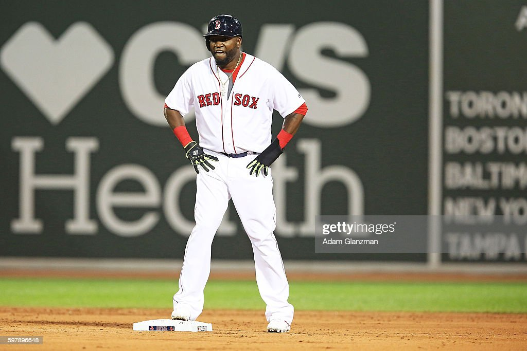 David Ortiz of the Boston Red Sox looks on in the fifth inning during a game against the Tampa Bay Rays at Fenway Park on August 29 2016 in Boston...