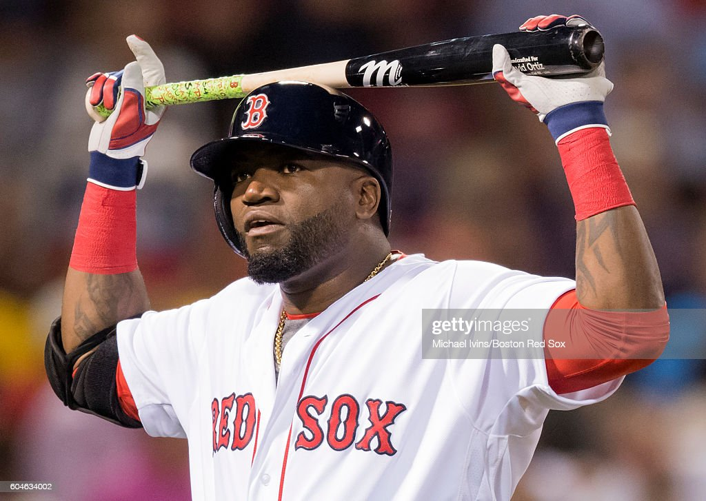 David Ortiz #34 of the Boston Red Sox reacts after a bases loaded ground out against the Baltimore Orioles in the second inning on September 13, 2016 at Fenway Park in Boston, Massachusetts.