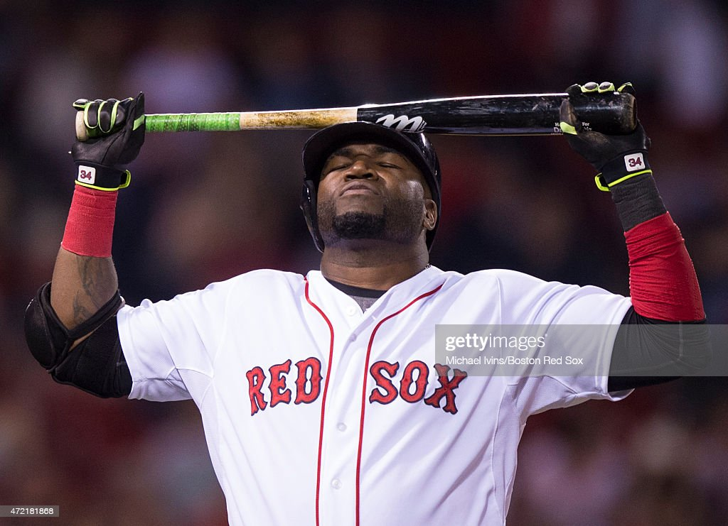 David Ortiz #34 of the Boston Red Sox reacts after a fly ball out during the eighth inning against the Tampa Bay Rays at Fenway Park in Boston, Massachusetts on May 4, 2015.