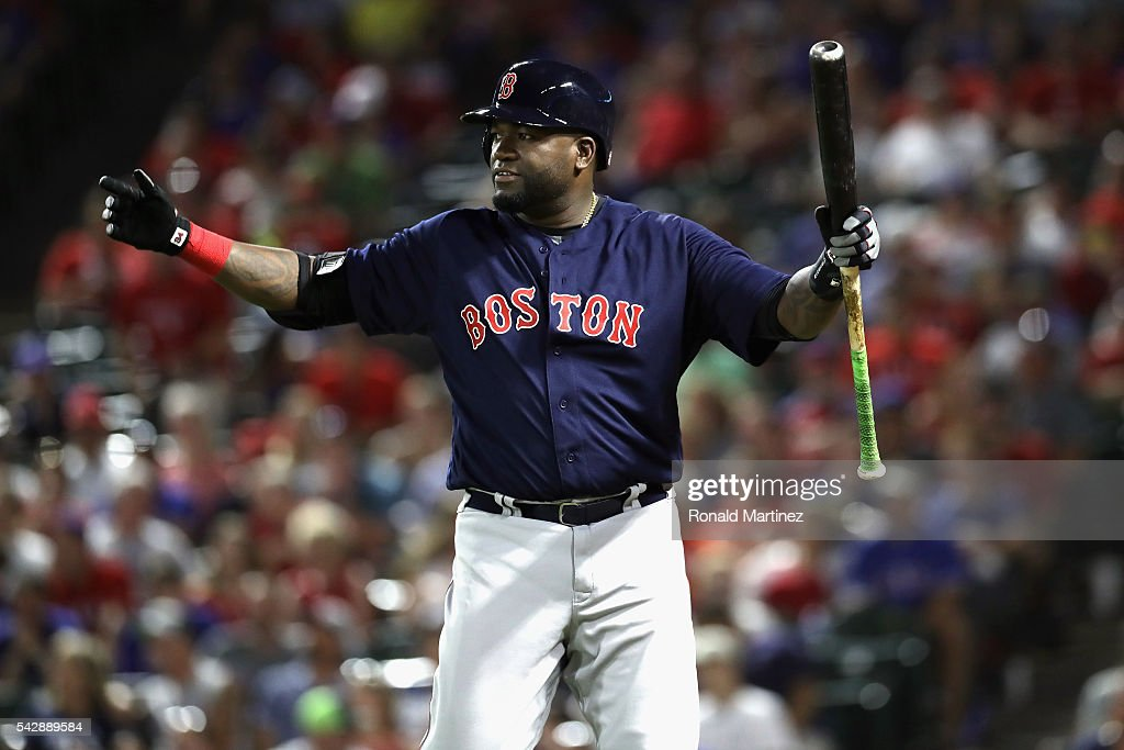 <a gi-track='captionPersonalityLinkClicked' href=/galleries/search?phrase=David+Ortiz&family=editorial&specificpeople=175825 ng-click='$event.stopPropagation()'>David Ortiz</a> #34 of the Boston Red Sox reacts after a line out against the Texas Rangers in the 8th inning at Globe Life Park in Arlington on June 24, 2016 in Arlington, Texas.