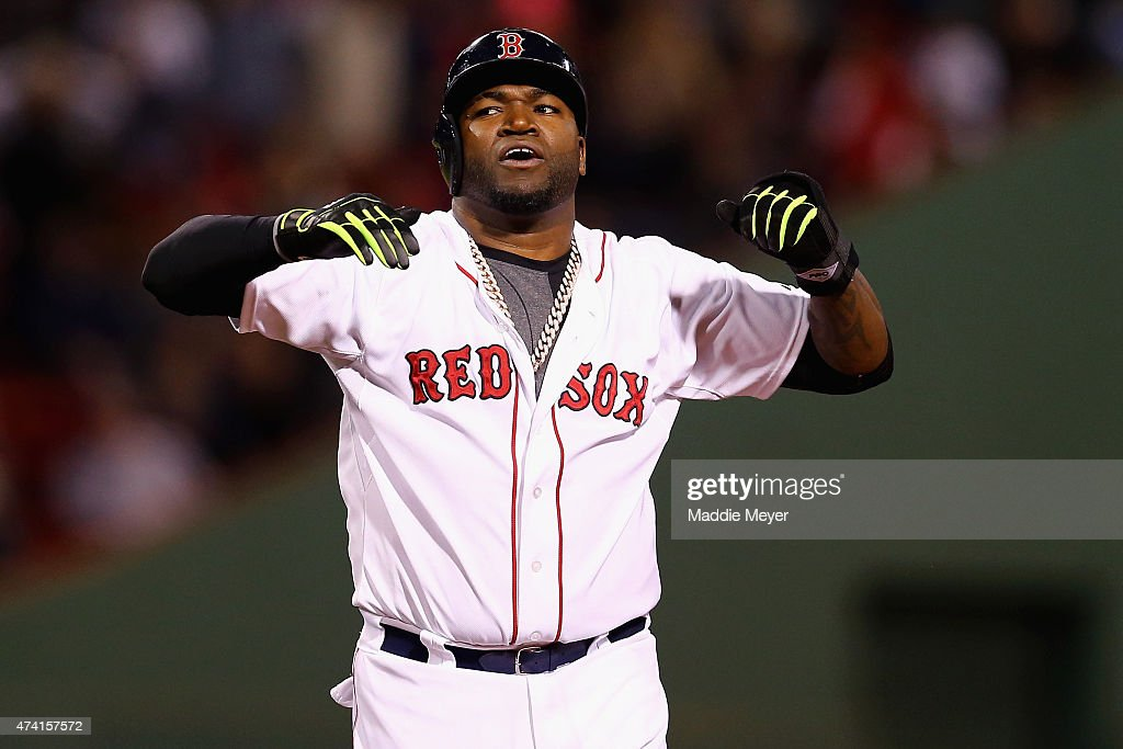 David Ortiz #34 of the Boston Red Sox reacts after a scoreless seventh inning against the Texas Rangers at Fenway Park on May 20, 2015 in Boston, Massachusetts. The Rangers defeat the Red Sox 2-1.