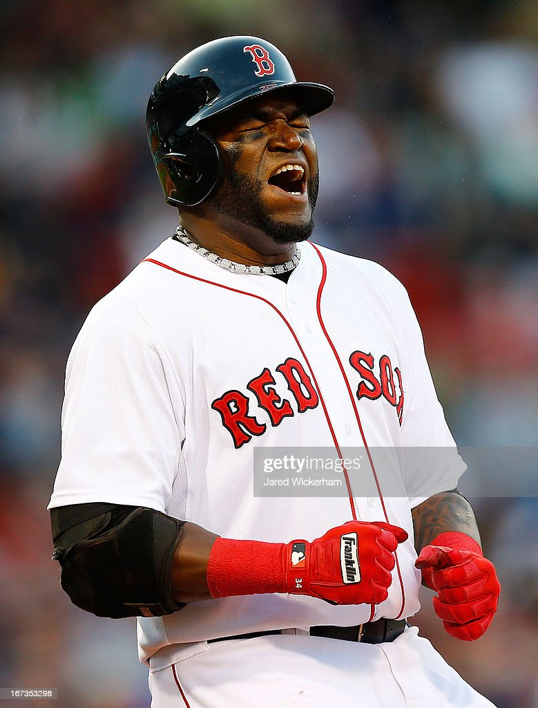 David Ortiz #34 of the Boston Red Sox reacts after flying out against the Oakland Athletics in the seventh inning during the game on April 24, 2013 at Fenway Park in Boston, Massachusetts.