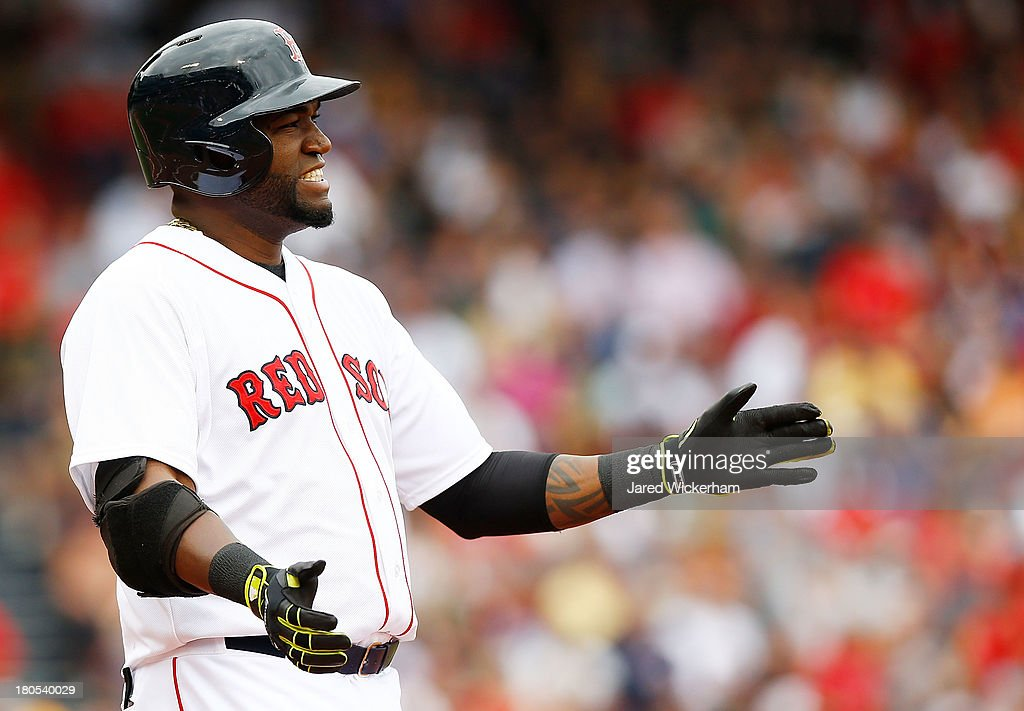 David Ortiz #34 of the Boston Red Sox reacts after flying out against the New York Yankees in the fourth inning during the game on September 14, 2013 at Fenway Park in Boston, Massachusetts.