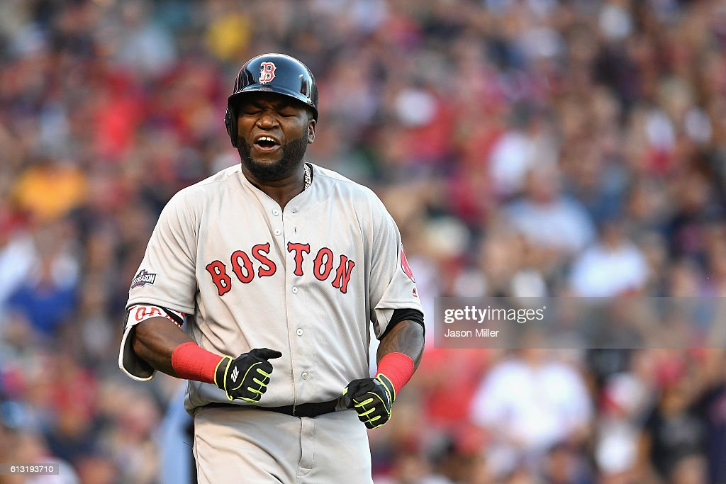 David Ortiz #34 of the Boston Red Sox reacts after flying out in the fourth inning against the Cleveland Indians during game two of the American League Divison Series at Progressive Field on October 7, 2016 in Cleveland, Ohio.