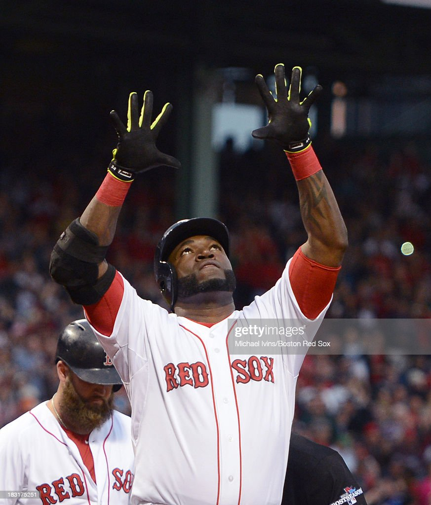 David Ortiz #34 of the Boston Red Sox reacts after hitting a home run against David Price #14 of the Tampa Bay Rays during the first inning of game two of the American League Division Series on October 5, 2013 at Fenway Park in Boston, Massachusetts.