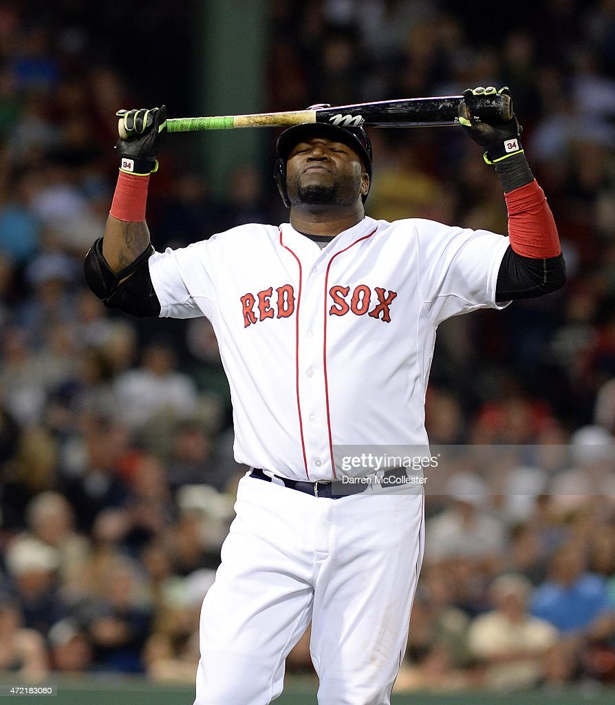 David Ortiz #34 of the Boston Red Sox reacts after making an out in the eighth inning against the Tampa Bay Rays at Fenway Park on May 4, 2015 in Boston, Massachusetts.