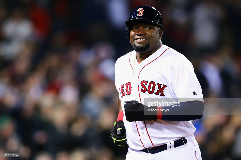 David Ortiz #34 of the Boston Red Sox reacts after scoring a run against the Atlanta Braves during the fourth inning on April 27, 2016 in Boston, Massachusetts.