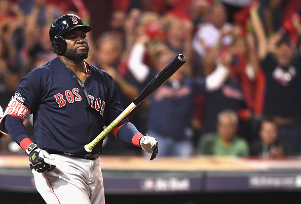 David Ortiz of the Boston Red Sox reacts after striking out in the fifth inning against the Cleveland Indians during game one of the American League...