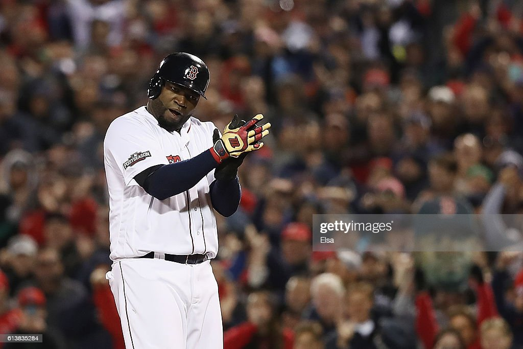 David Ortiz #34 of the Boston Red Sox reacts in the eighth inning against the Cleveland Indians during game three of the American League Divison Series at Fenway Park on October 10, 2016 in Boston, Massachusetts.