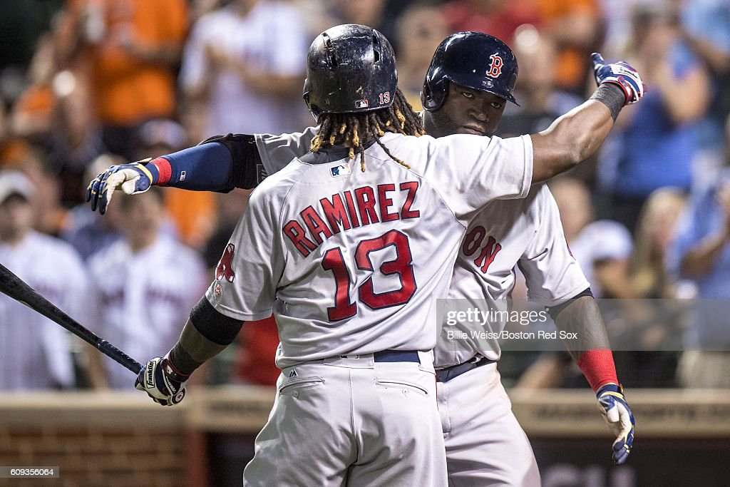 David Ortiz #34 of the Boston Red Sox reacts with Hanley Ramirez #13 after hitting a three run home run during the seventh inning of a game against the Baltimore Orioles on September 20, 2016 at Oriole Park at Camden Yards in Baltimore, Maryland.