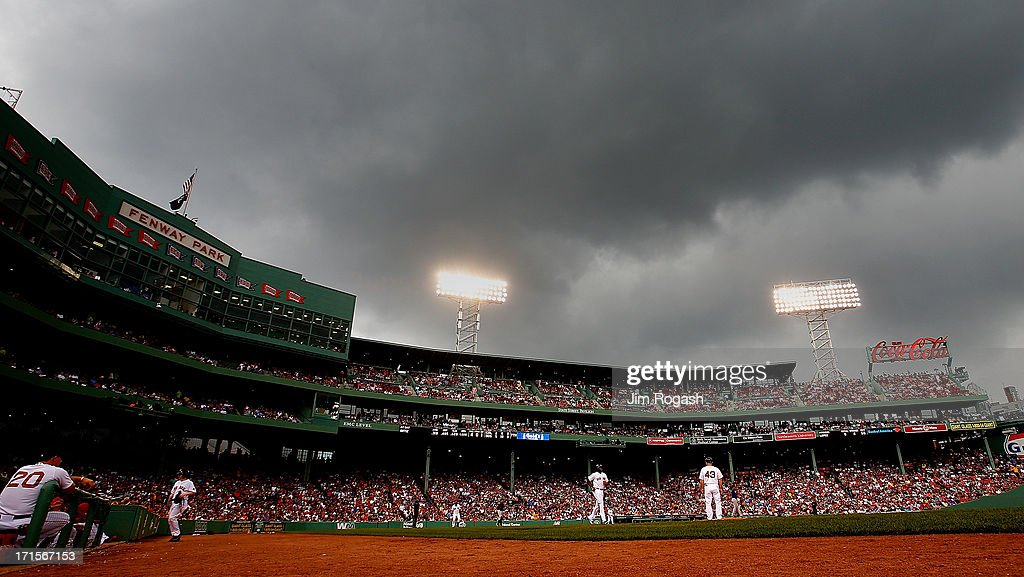 David Ortiz #34 of the Boston Red Sox receives an intentional walk as the clouds and rain roll over the field during a game against the Colorado Rockies in the 7th inning at Fenway Park on June 26, 2013 in Boston, Massachusetts.