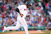 David Ortiz of the Boston Red Sox runs the bases after his 496th career home run during the fourth inning against the Philadelphia Phillies at Fenway...