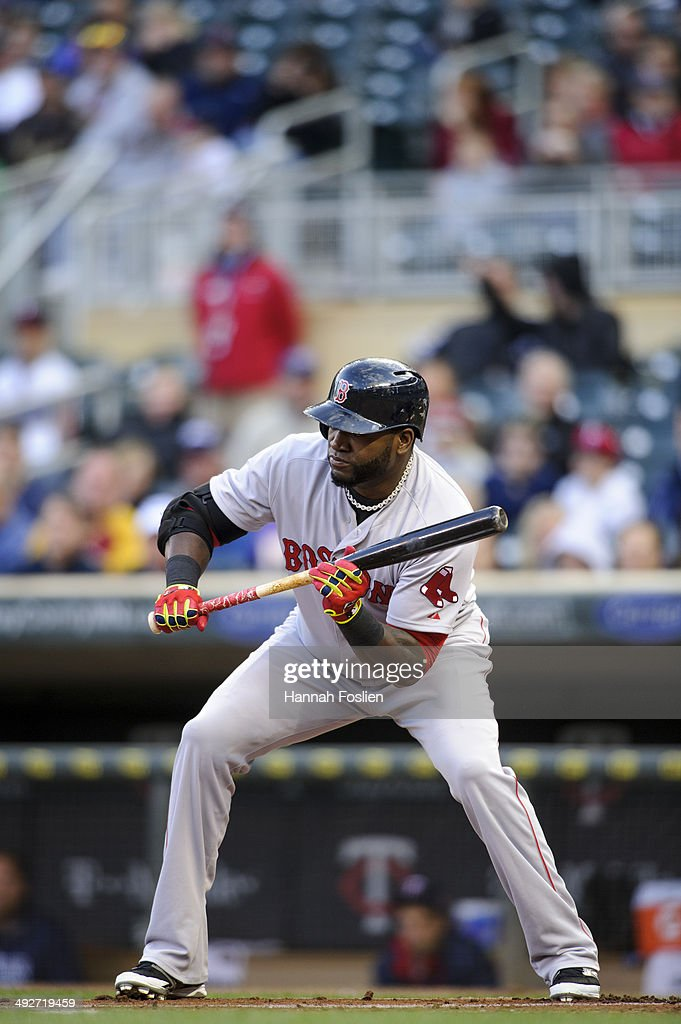 David Ortiz of the Boston Red Sox show bunt against the Minnesota Twins during the game on May 14 2014 at Target Field in Minneapolis Minnesota The...