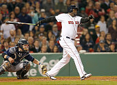 David Ortiz of the Boston Red Sox singles in two runs in the fifth inning against the Tampa Bay Raysin game two of a doubleheader at Fenway Park May...