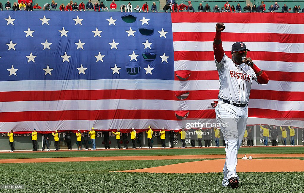 David Ortiz #34 of the Boston Red Sox speaks during a pre-game ceremony in honor of the bombings of Marathon Monday before a game at Fenway Park on April 20, 2013 in Boston, Massachusetts.