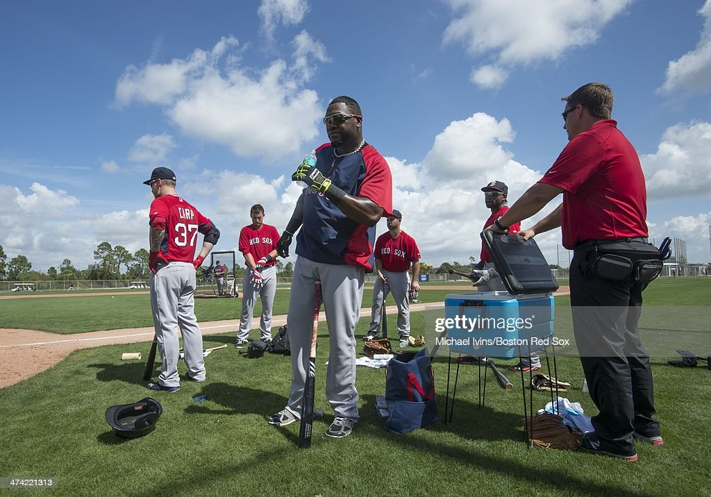 David Ortiz #34 of the Boston Red Sox takes a water break during a Spring Training workout at Fenway South on February 22, 2014 in Fort Myers, Florida.