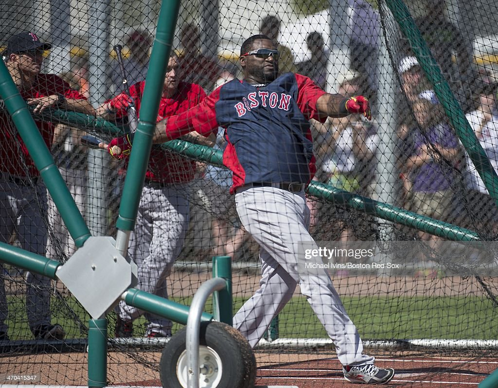 <a gi-track='captionPersonalityLinkClicked' href=/galleries/search?phrase=David+Ortiz&family=editorial&specificpeople=175825 ng-click='$event.stopPropagation()'>David Ortiz</a> #34 of the Boston Red Sox takes batting practice during a Spring Training workout at Fenway South on February 19, 2014 in Fort Myers, Florida.