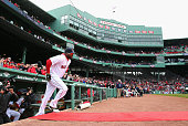 David Ortiz of the Boston Red Sox takes the field as he is introduced prior to the home opener against the Baltimore Orioles at Fenway Park on April...