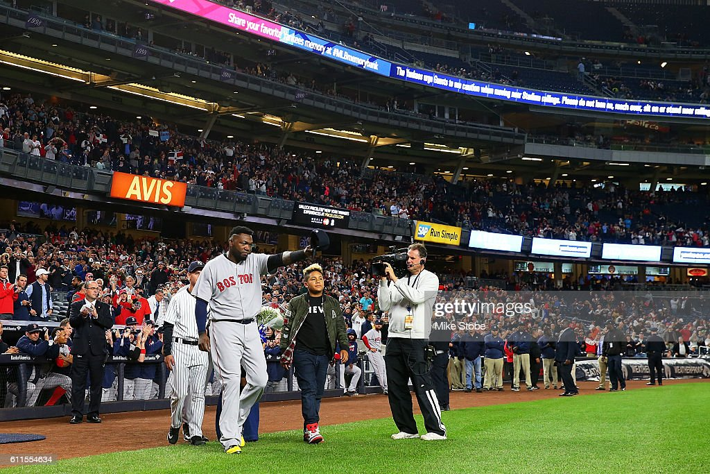 David Ortiz #34 of the Boston Red Sox tips his cap as he is honored during a pregame ceremony at Yankee Stadium on September 29, 2016 in the Bronx borough of New York City.