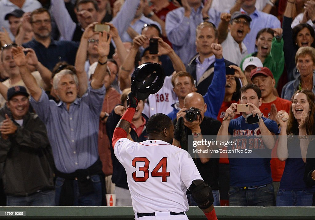 <a gi-track='captionPersonalityLinkClicked' href=/galleries/search?phrase=David+Ortiz&family=editorial&specificpeople=175825 ng-click='$event.stopPropagation()'>David Ortiz</a> #34 of the Boston Red Sox tips his hat to the crowd after hitting his second home run of the night against the Detroit Tigers during the seventh inning on September 4, 2013 at Fenway Park in Boston Massachusetts.